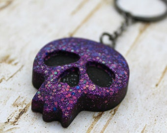 Purple/Pink Color Changing Matte Skull Keychain