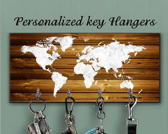 Map key holder etsy key hanger wall key holder valentines gift wall key organizer world map key rack distressed sign traveller gift rustic wood decor gumiabroncs Image collections