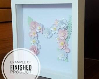 "Handmade Paper Flower Monogram in 9""x9"" White Shadow Box"