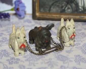 Lovely Vintage Art Deco Carved Wooden Scottie Westie Terrier Dogs Brooch