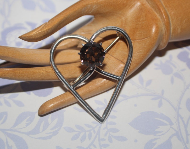 Gorgeous Rare Edinburgh Hallmarked Silver Scottish Cairngorm Stone Glen Kelso Frame Large Heart Brooch 1978