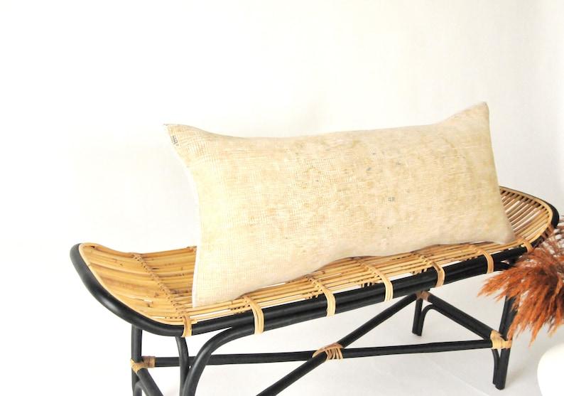 Turkish Vintage Carpet Throw Pillow Beige Lumbar Kilim Pillow Carpet Pillow Oriental Pillow Rectangular Kilim Pillow Case Beige Kilim Pillow