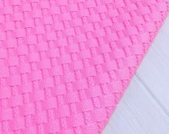 Pink Basket Weave Faux Leather