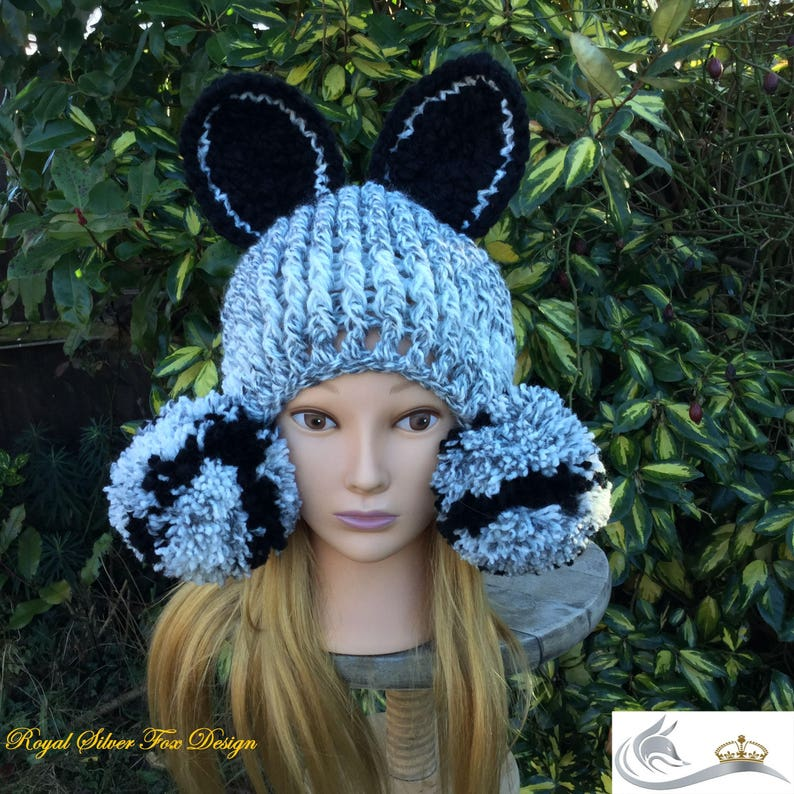 30afad3e136 Crochet Pattern Silver Fox Beanie Hat Toddler Child and