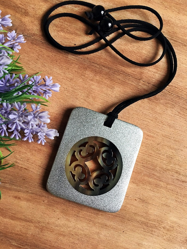 Lacquer Jewelry Lacquered Horn Necklace for Women Horn Pendant Pendant necklace Gift for her AW585 Handmade necklace