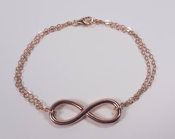 Rose gold-fill hand made bracelet Infinity. Endlessly looped double chains. 25% Off. Free shipping