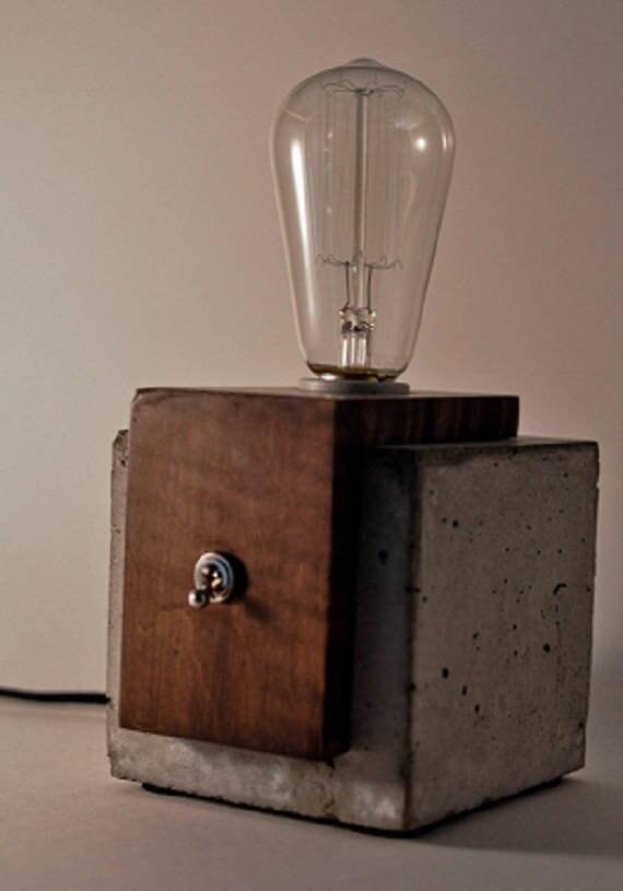 Lampe Cube Beton Bois Lampe De Table Frais De Port Au Canada Et Des Etats Unis