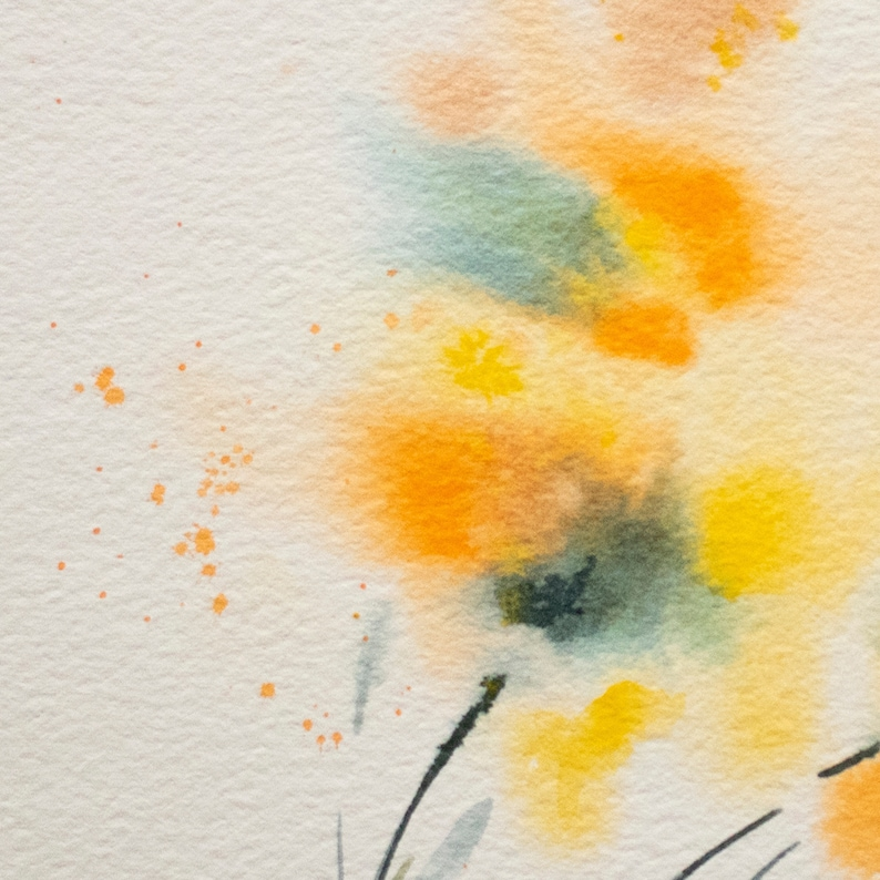 Original watercolor Abstract flowers Orange painting Small art Contemporary minimalist painting Modern art  Watercolor splash Abstract art