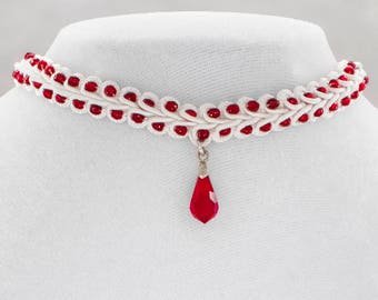 Delicate Red and white beaded collar
