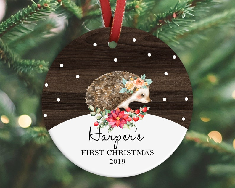 Christmas gift 2019 Baby/'s first Christmas ornament newborn baby Christmas gift Hedgehog ornament keepsake ornament
