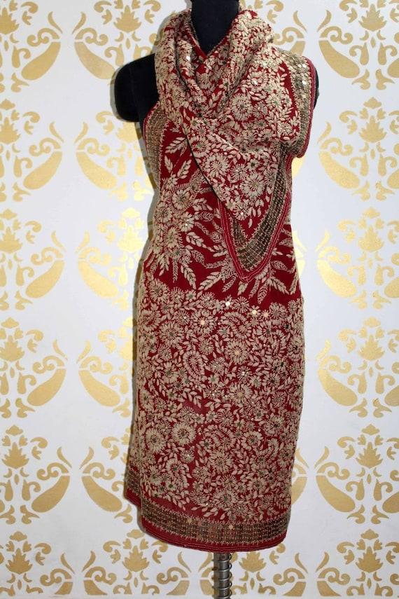 Special Phulkari Embroidered Dupatta, Georgette Fa