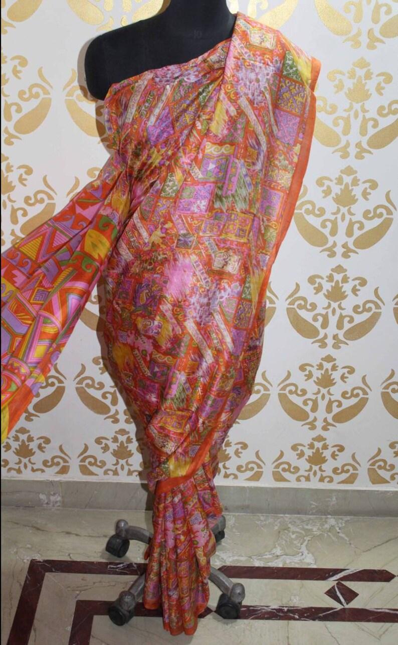 Woman Wear 100/% Pure Silk Saree Fabric Vintage Saree