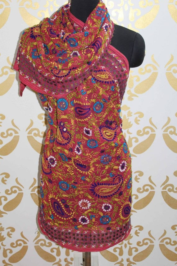 Phulkari Embroidered Dupatta, Georgette Fabric Wom