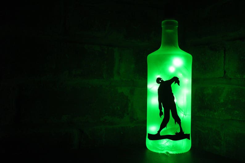 Zombie Liquor Bottle Lamp 20 LED Lights  Upcycled  image 0