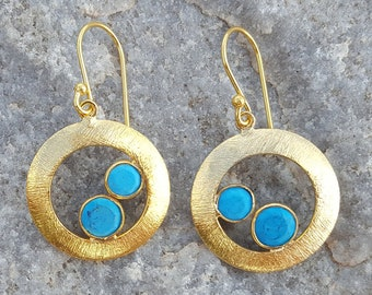 Gold Earrings. Gold plated jewellery. TURQUOISE earrings. Gemstone Earrings. Dangle earrings. Inkacreations. MAHE .CHERRY. Gift. Mother