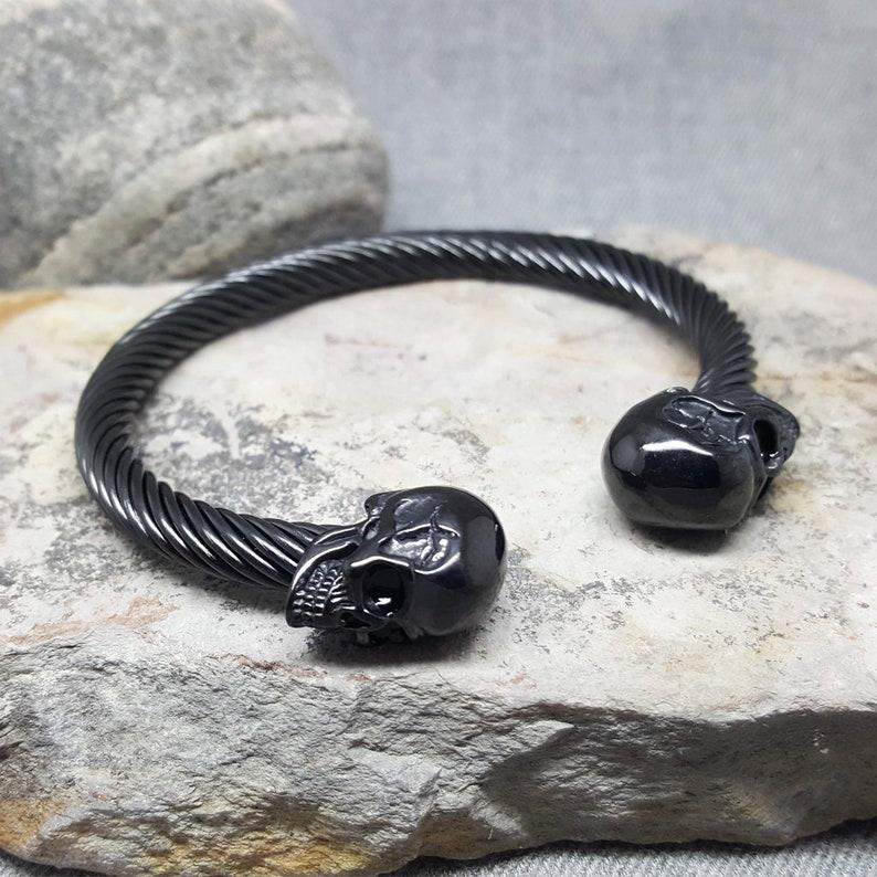 Men's Bracelet. Skull Bangle. STEEL Bracelet. image 0
