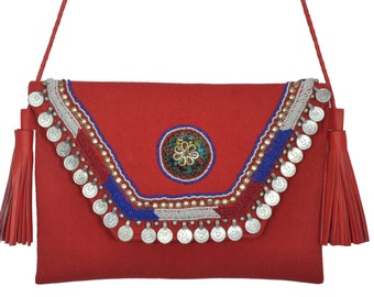 Vintage look Antique coin hand beaded work boho unique clutch sling Bag for Women