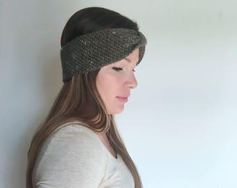 Rustic Romantic Ear Warmer // Knit Bow Headband // Dark Grey // Dark Grey Bow Ear Warmer
