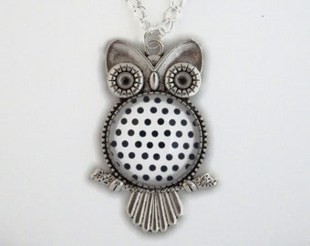 Necklace OWL with black polka dots