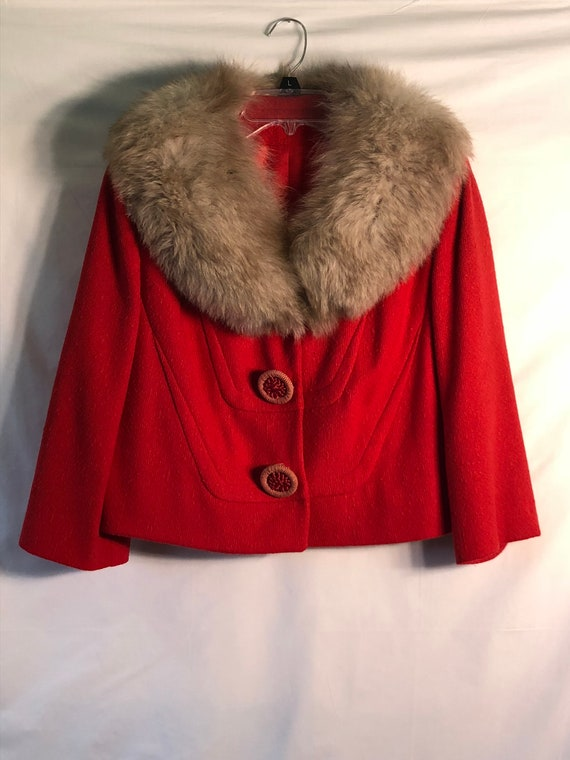 Vintage Red Wool Cropped Jacket w/Fox Fur Collar