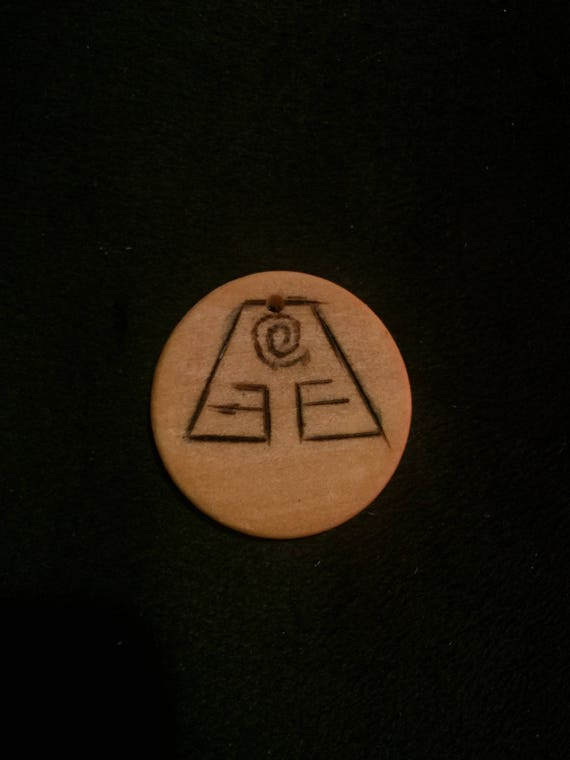 Woodburned Necklave Avatar The Last Airbender Earth Nation Etsy