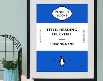 Personalised Penguin Book Cover Print