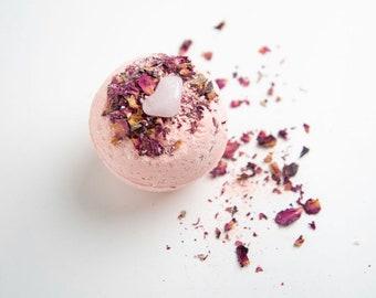 Infinite Love Rose Crystal Bath Bomb 7.5oz|  Self-love Organic Bath Bomb | Rose Quartz Natural Bath Bomb