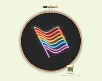 Adults Cross Stitch Kit For Beginners Progress Pride Flag LGBTQIA+