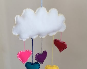 Hanging cloud with heart or raindrops. Choose which colours you would like and whether you would like heartdrops or raindrops.