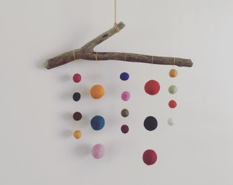Driftwood and felt ball hanging decoration