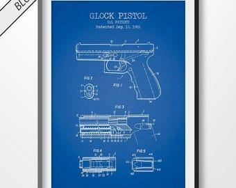 Pistol blueprint etsy glock pistol patent print pistol poster glock pistol blueprint pistol illustration gun poster firearm poster gun wall art malvernweather Choice Image