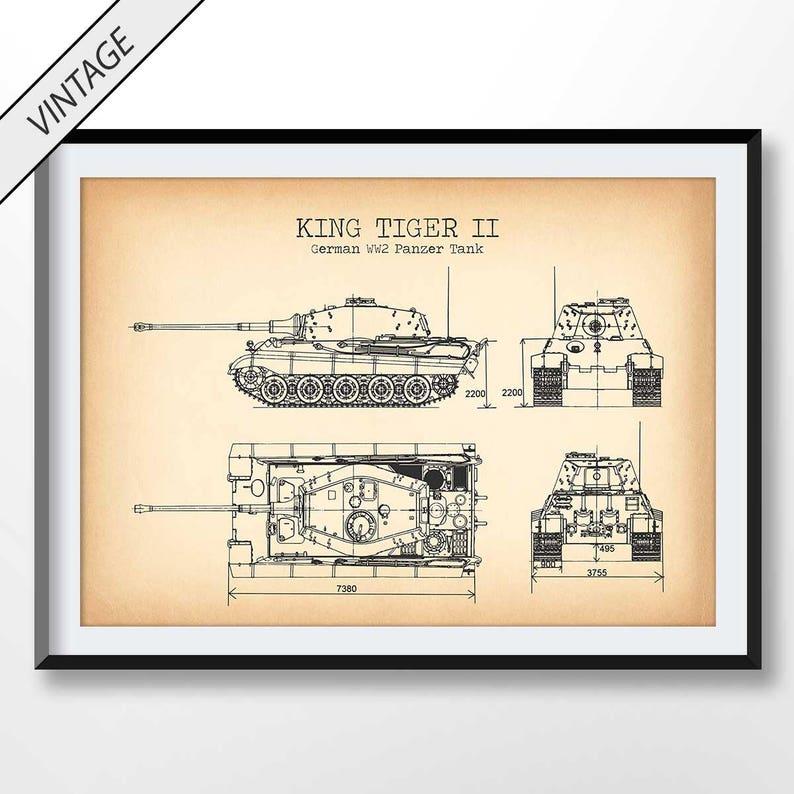 WW2 Tank Patent Print, Tank Poster, Military Wall Art, Army Decor, Vintage  Artwork, Soldier Gift, King Tiger
