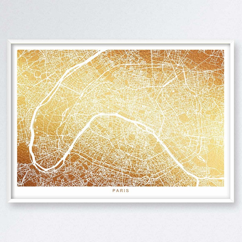 A4 Map Of France.Paris Map Gold Map Map Of Paris France Map Print Map Wall Art Golden Map Traveler Gift Europe Travel