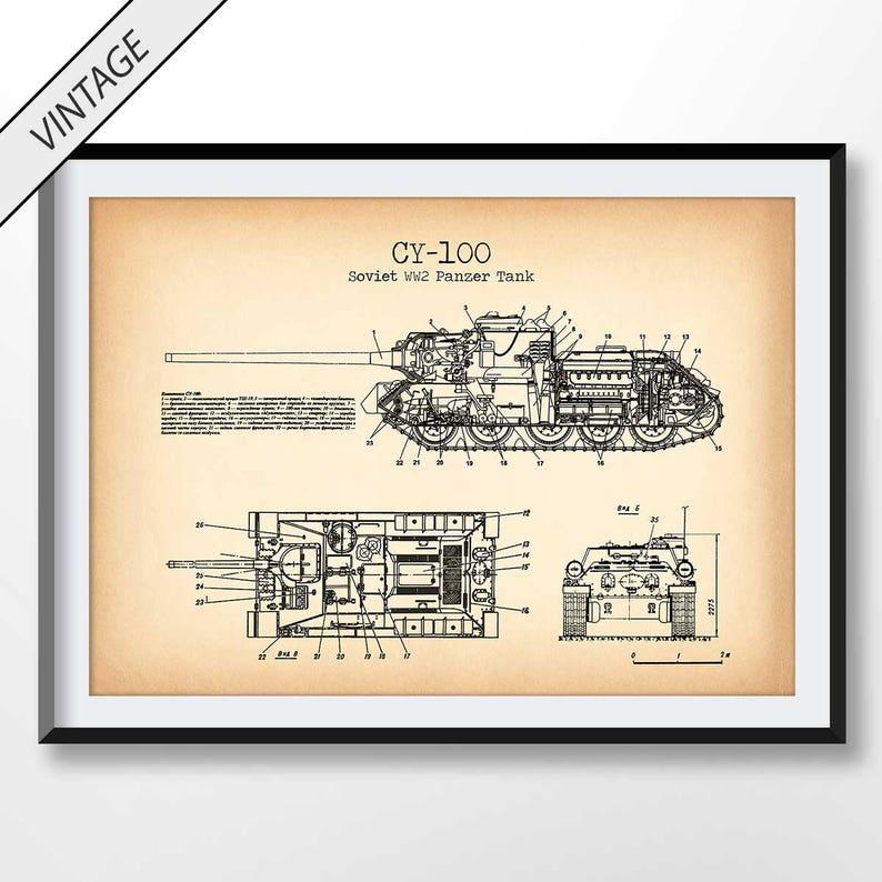 WW2 Tank Patent Print, Soviet Tank Blueprint, Tank Poster, Soviet Tank  Illustration, Vintage Tank Art Print, Russian Tank Poster, WW2 Decor