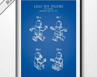 Set of 4 poster lego heads blue lego happy customized lego lego man patent print lego poster lego blueprint lego illustration lego wall malvernweather Images