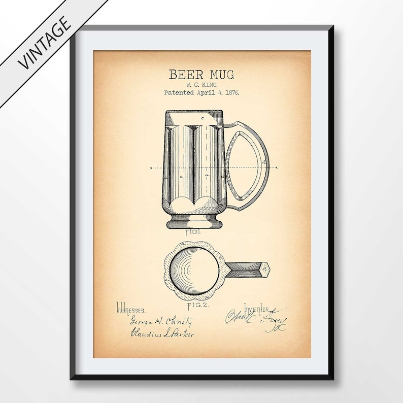 Beer Mug Patent Print, Beer Mug Blueprint, Beer Wall Art, Alcohol Poster,  Drinker Gift, Drinking Decor, Brewery, Pub Sign, Beer Lover Gift
