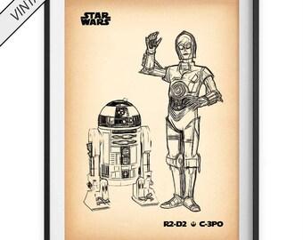 R2D2 C3PO BLUEPRINT, r2d2 c3po poster, r2d2 print, c3po print, star wars wall art, star wars poster, rebel army, star wars print, robot art