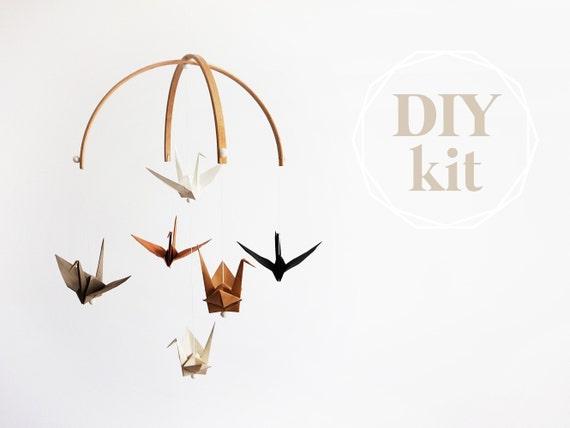 Nursery mobile Origami fabric crane mobile Nursery | Etsy | 428x570
