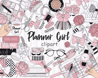 Planner Stickers Scrapbook Die Cut Delta Inspired Mocha Diva Girl Fashion Illustration Clip Art Digital