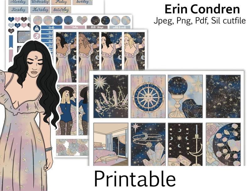 star zodiac moon spring Digital Planner Stickers Printable Planner sticker Printable weekly kit planner stickers printable erin condren