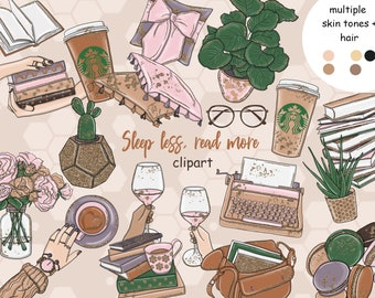 Coffee Clipart Books Clipart Fashion Illustration But First Coffee  Planner Girl Stickers Copper Book Lover Gift  Girl reads clipart book