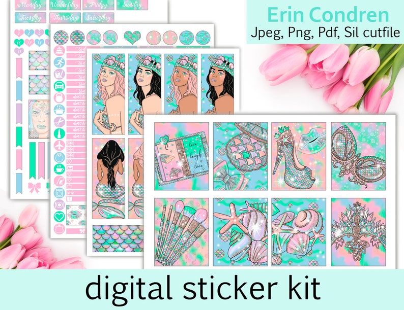 photograph about Sticker Printable identified as Mermaid Wants sticker Planner Stickers Electronic Planner Stickers Printable Planner sticker Printable weekly package planner stickers printable