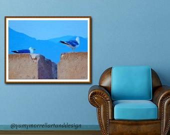 Giclée-Oil painting print on canvas-Fine Art Print-Art texture-Photography-Seagulls-Artwork by Yamy Morrell