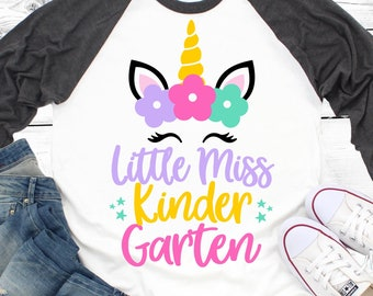 Little Miss Kindergarten Svg, Kindergarten Svg, Girl Kindergarten, Back to School Svg, Unicorn Svg, First Day of School Svg, File for Cricut