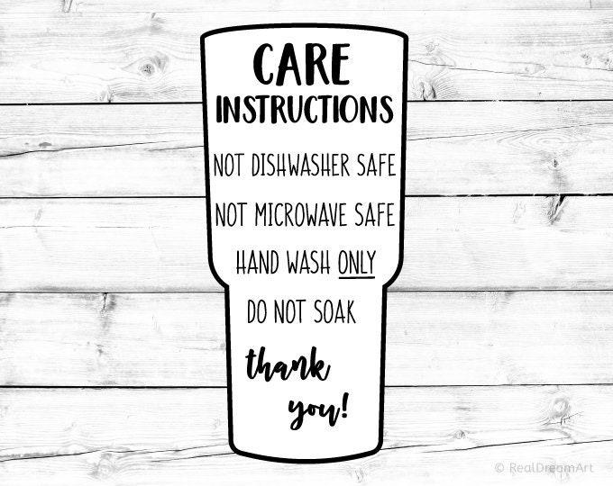 Tumbler Care Instructions Card Svg Care Card Svg Digital