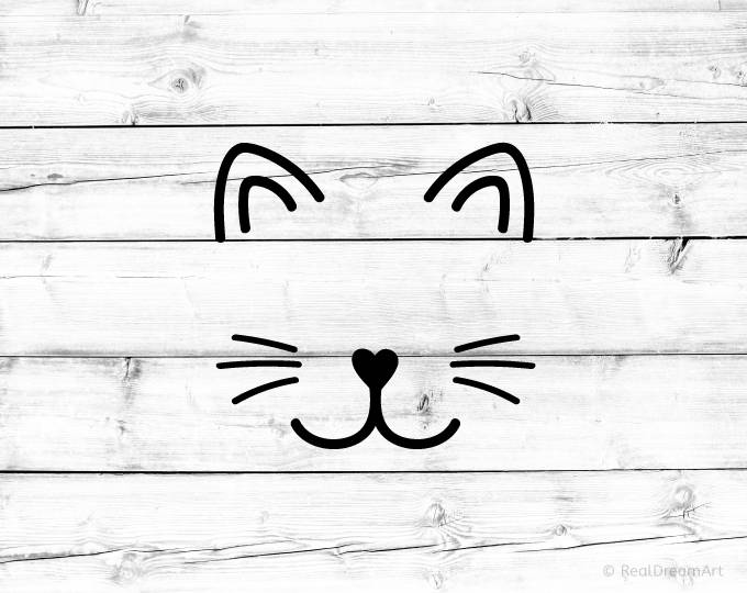 Cat Face Svg Cutfile Cat Whiskers Svg Kitty Svg Cat Svg Kitten Etsy