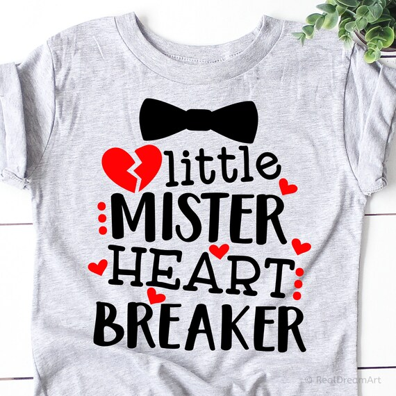 Little Mister Heart Breaker Svg Funny Boy Valentines Day Svg Etsy