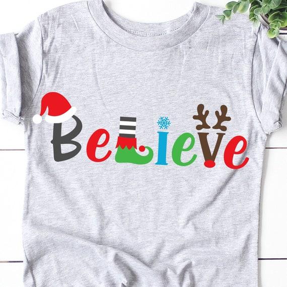 Believe Svg, Christmas Svg, Santa Svg, Believe in Magic Svg, Reindeer Svg, Elf Svg, Snowflake Svg, Christmas Shirt Svg for Cricut, Png, Dxf