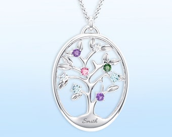 10K & 14K Solid Gold (Never Plated!) Personalized Birthstone Family Tree Pendant