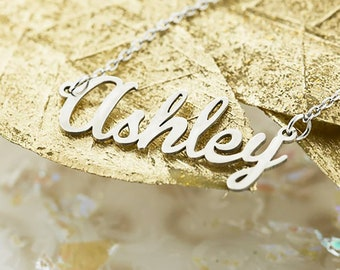 95838ee28b76a 10K   14K Solid Gold (Never Plated!) Personalized Name Necklace